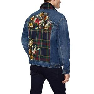 NWT Guess Men's Oversized Embroidered Denim Jacket